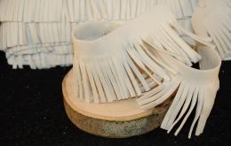Frange simili cuir 5cm blanc