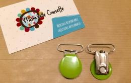 Pince attache-sucette métallique vert lime