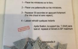 Appliqués thermocollants triangles glitter argentés
