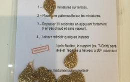 Appliqués thermocollants gouttes glitter dorés