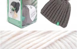 Kit tricot bonnet pompon écru