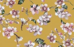 Viscose fleurs de cerisier ocre