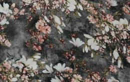 Viscose radiance fleuri sur fond gris